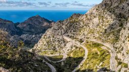 Aerial view of winding mountainside road in Spain