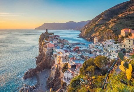 Sunset over Cinque Terre coast