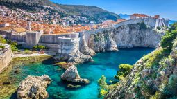 Aerial view of cliffs at Dubrovnik, Croatia