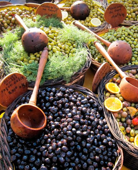 Olives at a farmer's market in Divine Provence