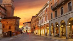 Ferrara, Italy city streets at sunset