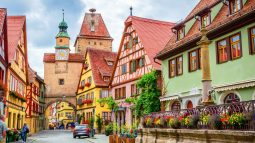 Franconia, Germany street and colorful buildings