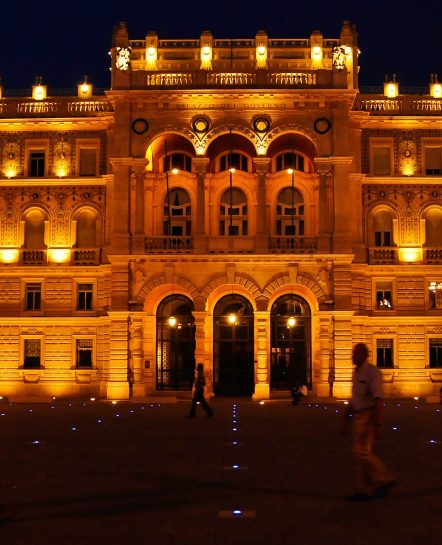 Building lit up at night on Friuli and Slovenia tour