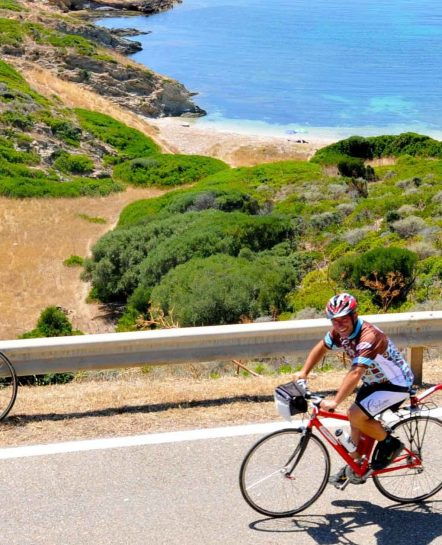 Biking a Sardinian coastal road