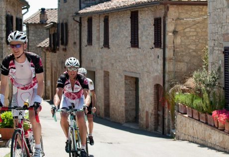 Biking in a town in Tuscany