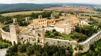 Aerial view of fort in Tuscany