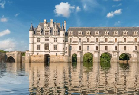 Castle reflected on water in Loire Valley