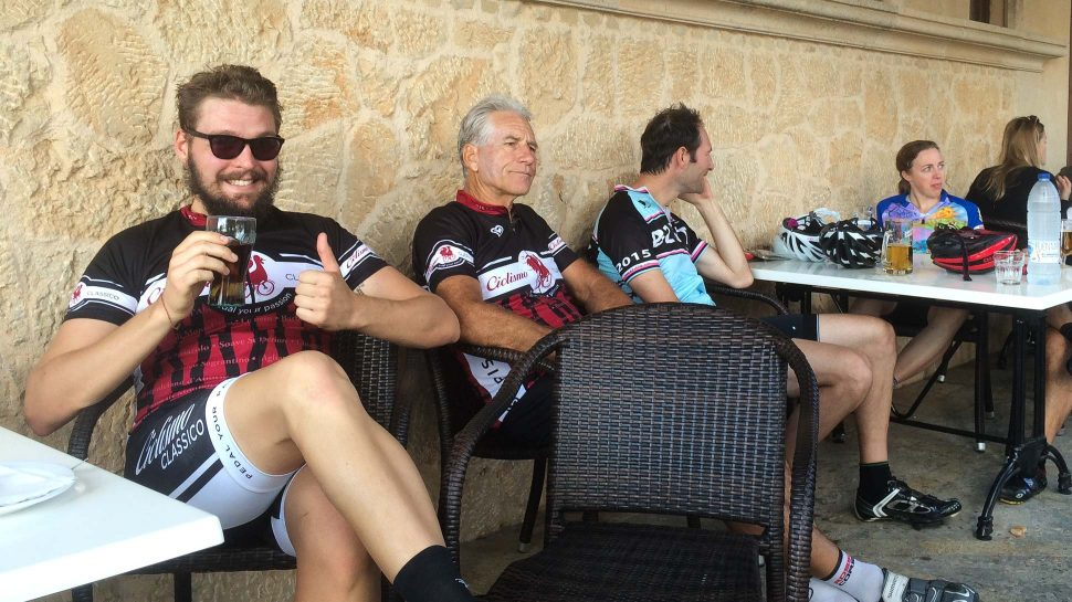 Bikers enjoying beer in Mallorca