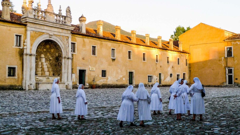 Nuns in Southern Italy at sunset