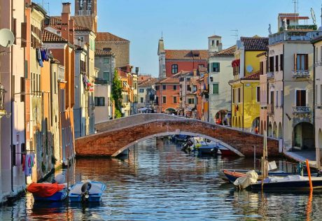 Canal and colorful buildings in Venice