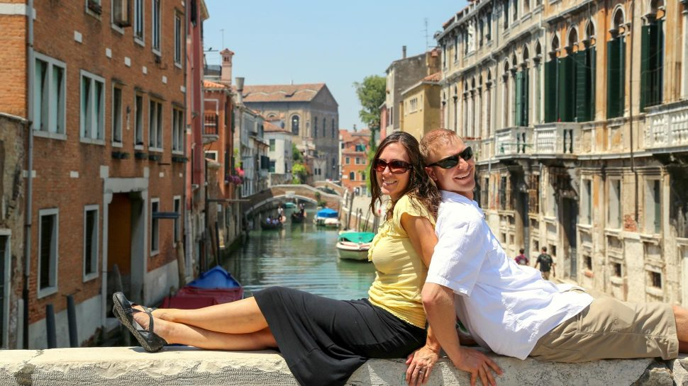 Couple on bridge in Venice