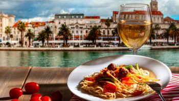 Pasta and wine in Dalmatian Coast, Croatia