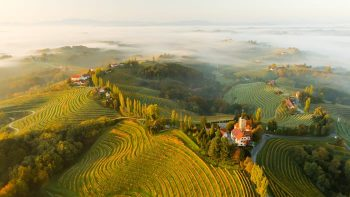 Aerial of Friuli and Slovenia Hills with fog