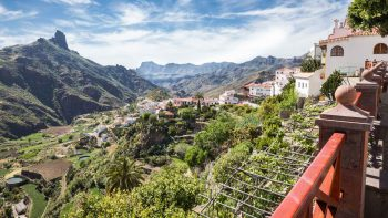 View of Gran Canaria mountains from bridge