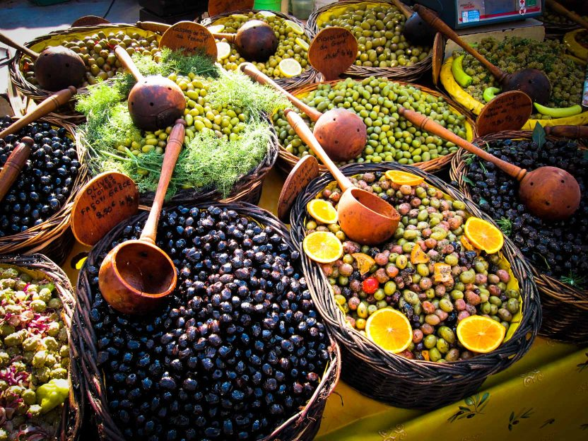 Variety of olives ready to purchase
