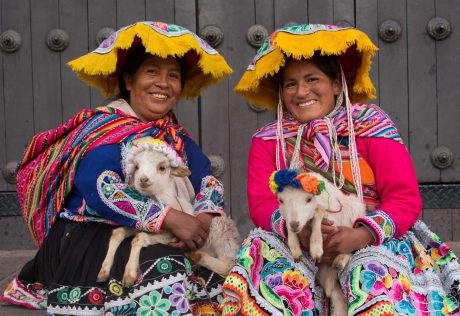 Peruvian women with goats