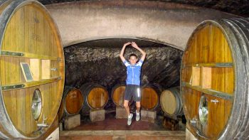 Person in a wine cellar on the Provence Pour La Famille tour