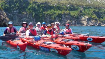 Kayaking while on the Sicily Family tour