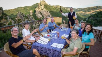 Dining on balcony in Southern Italy