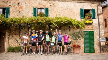 Group of bikers posing in Tuscany