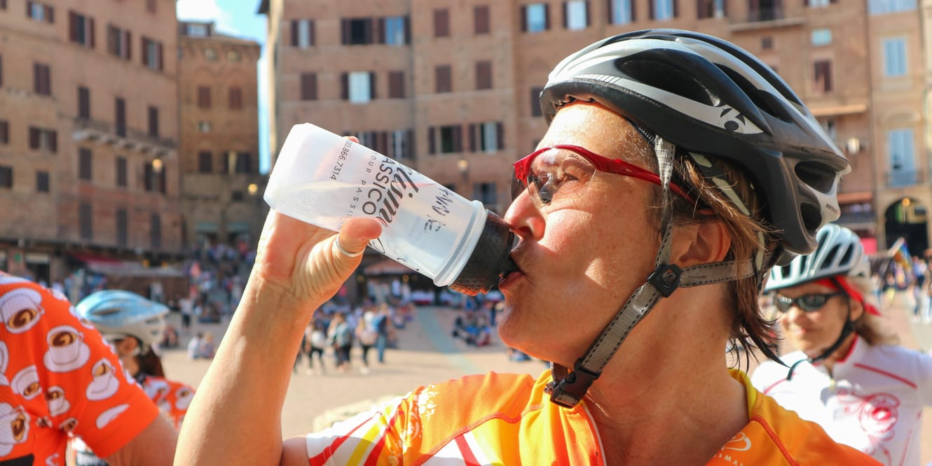 Drinking water during a bike break