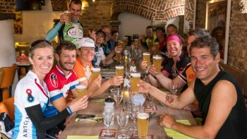 Bikers drinking beer