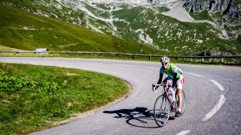 Man on a bike tour in the French Alps