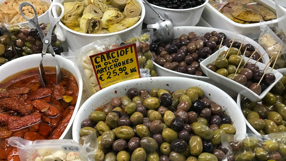 Fresh olives at a food market