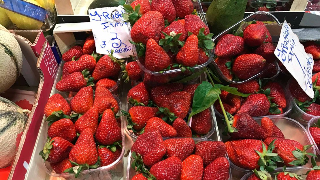 Fresh strawberries at a food market