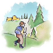 Illustration of a hiker in the Italian countryside