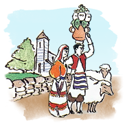 Illustration of Italian couple with sheep