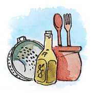 Illustration of Italian cooking utensils