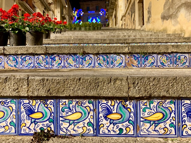 detailed tiled staircase in italy