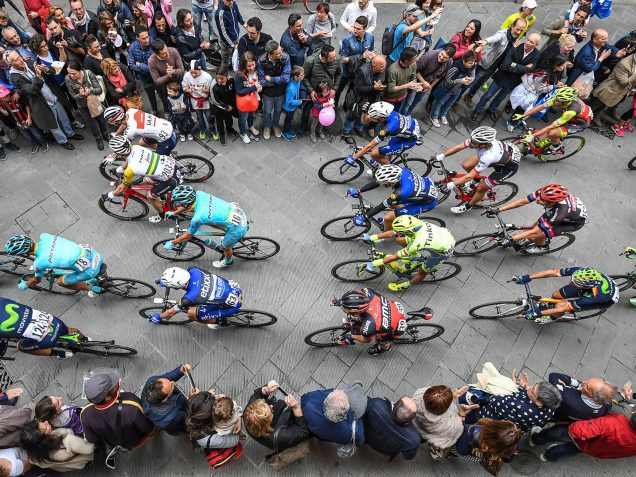 aerial view of cyclists